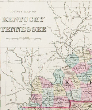 1881 County Map of Kentucky and Tennessee - S Mitchell Jr