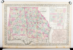 1881 County Map of Georgia and Alabama - S Mitchell Jr