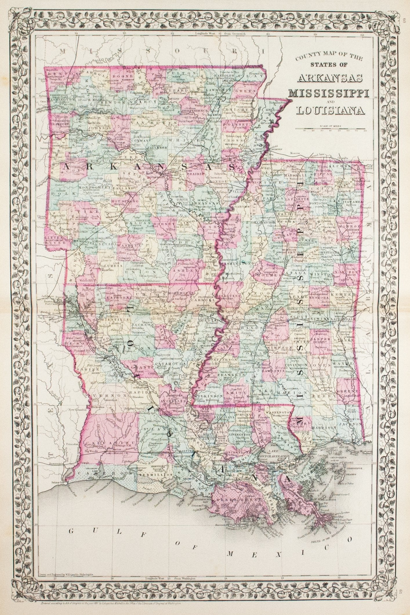 1881 County Map of the States of Arkansas Mississippi and Louisiana