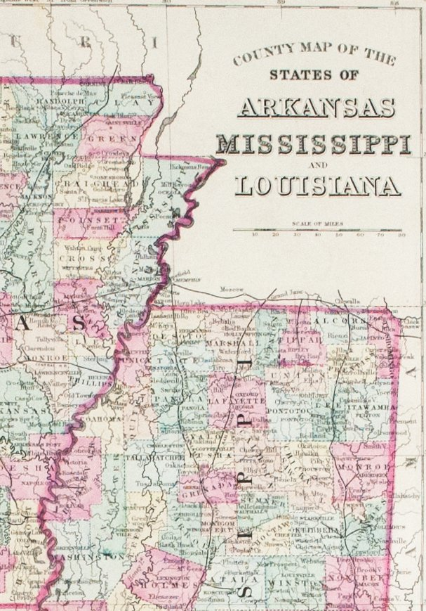 1881 County Map of the States of Arkansas, Mississippi and Louisiana on