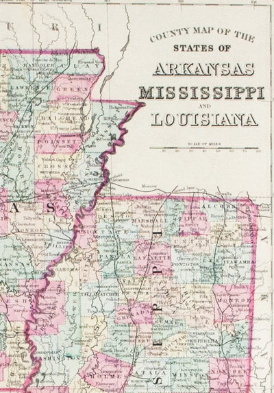 1881 County Map of the States of Arkansas, Mississippi and Louisiana on map california to texas, map with bordering states of kansas, louisiana border states, florida bordering states, detailed map of southern states, map of lafayette la and surrounding areas, map of california and bordering states, map of united states in french, california's bordering states, map of california state parks, map of downtown new orleans street map, map of texas and arizona, mississippi surrounding states,