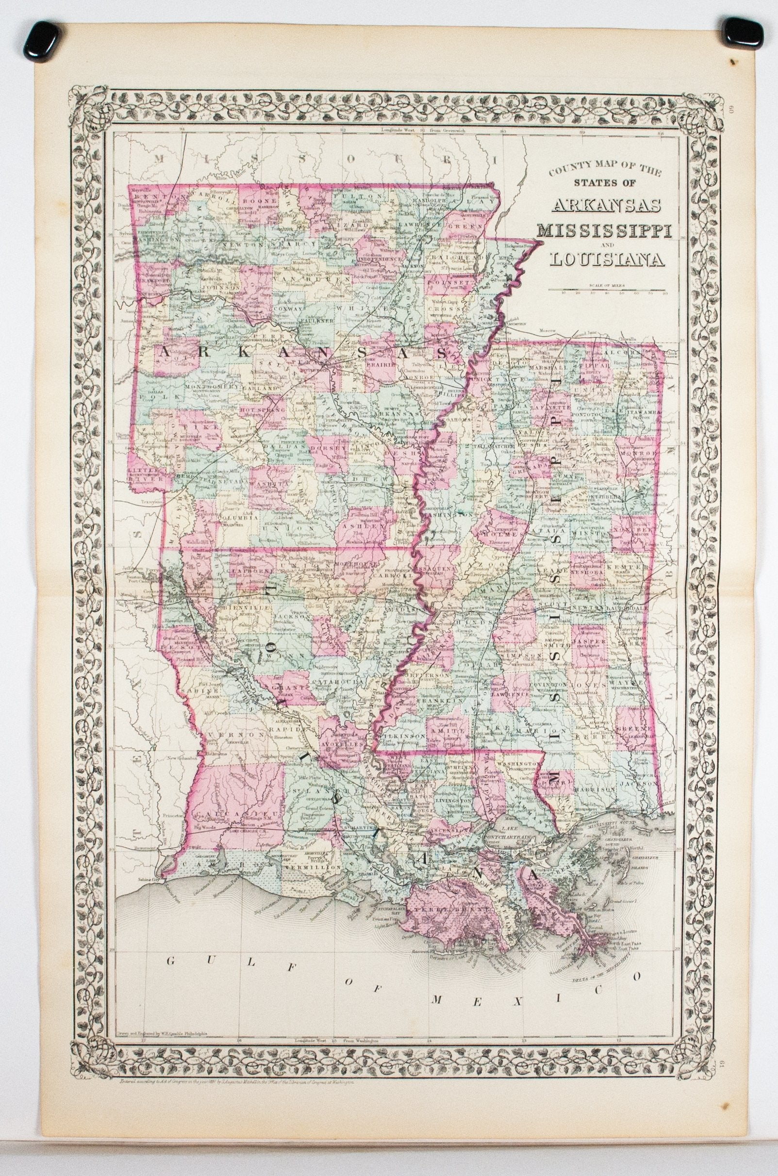1881 County Map of the States of Arkansas, Mississippi and Louisiana on louisiana's map, maryland's map, kentucky's map, maine's map, oklahoma's map, mississippi regions map, ms road map, georgia's map, michigan's map, indiana's map, missouri's map, new mexico's map, mississippi county map, mississippi state map, new jersey's map,