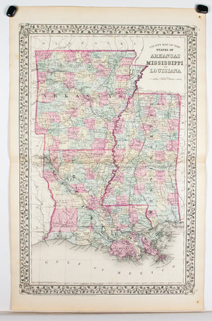 1881 County Map of the States of Arkansas, Mississippi and Louisiana - S Mitchell Jr