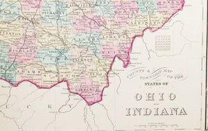 1881 County and Township Map of the States of Ohio and Indiana - S Mitchell Jr
