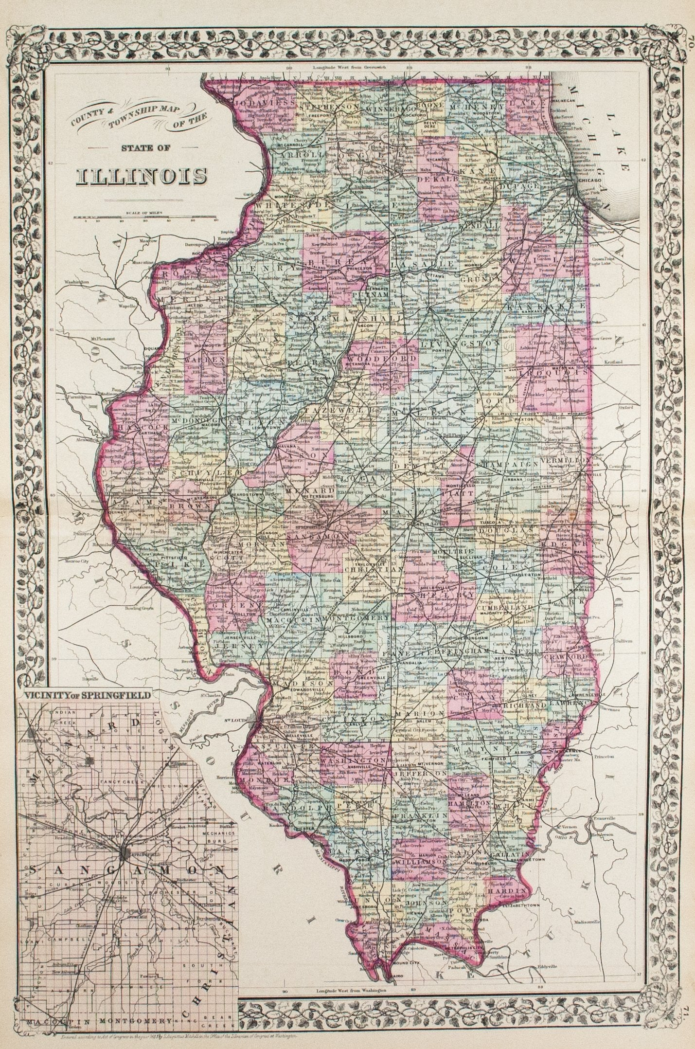 1881 County and Township Map of the State of Illinois - S Mitc ... on