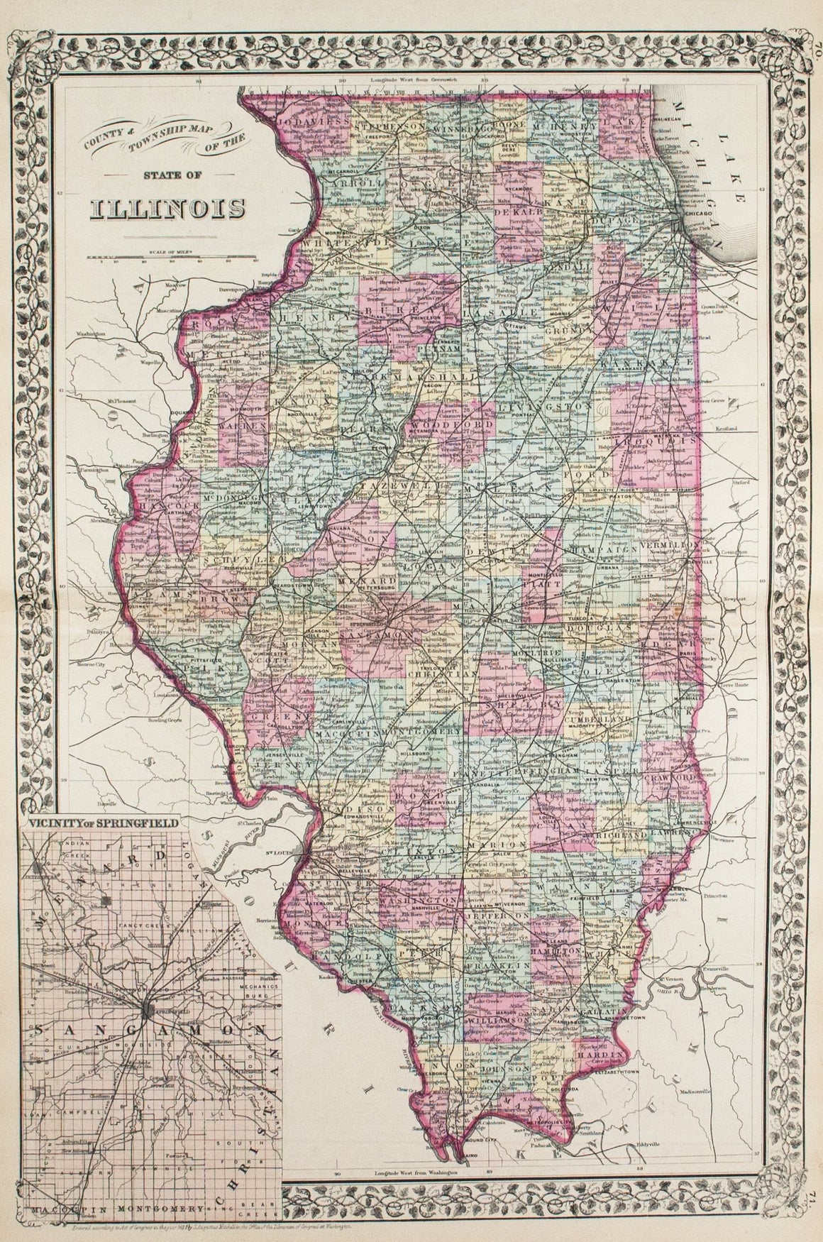1881 County and Township Map of the State of Illinois - S Mitchell Jr