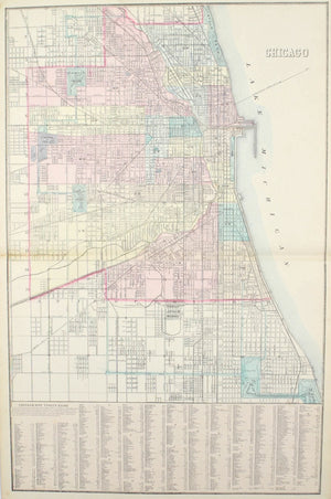 Chicago Illinois Antique Mitchell Map 1881