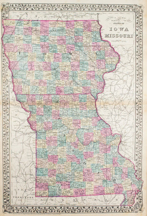 1881 County & Township Map of the States of Iowa and Missouri - S Mitchell Jr