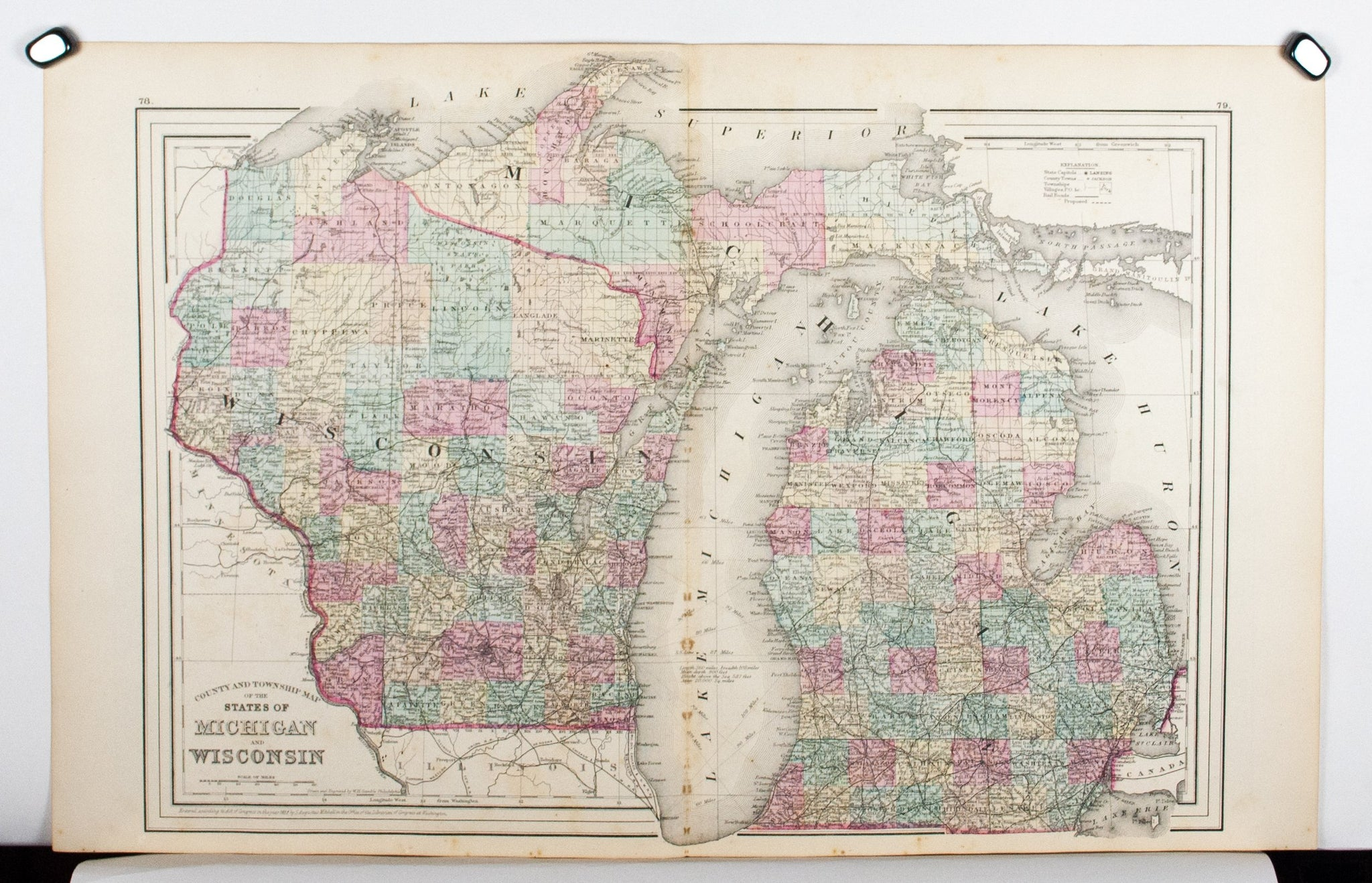 Michigan And Wisconsin Map.1881 County Township Map Of The States Of Michigan And Wisconsin