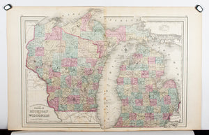1881 County & Township Map of the States of Michigan and Wisconsin - S Mitchell Jr