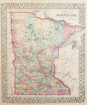 1881 County Map of the State of Minnesota - S Mitchell Jr