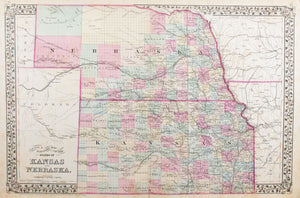 1881 County & Township Map of the States of Kansas and Nebraska - S Mitchell Jr