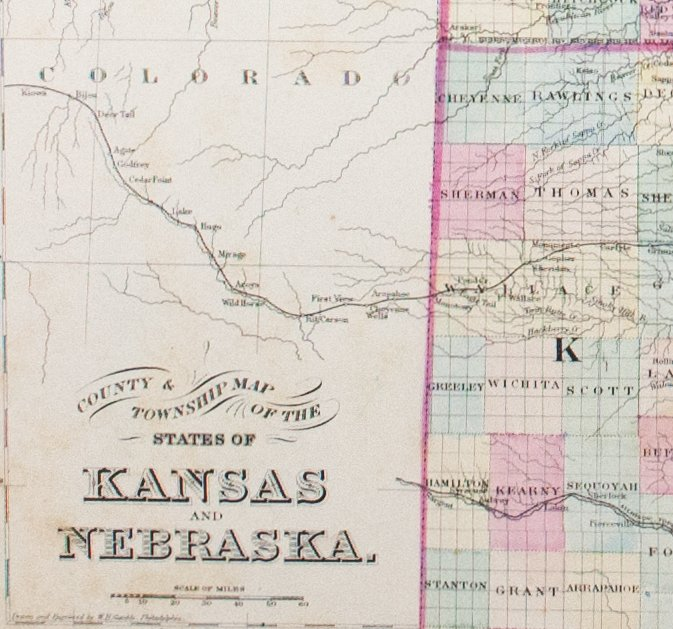 1881 County Township Map Of The States Of Kansas And Nebraska S