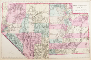 1881 County and Township Map of Utah and Nevada - S Mitchell Jr