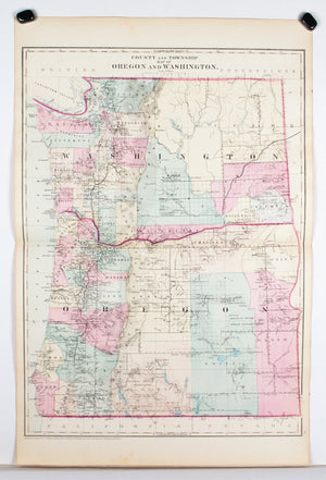 1881 County and Township Map of Oregon and Washington - S Mitchell Jr
