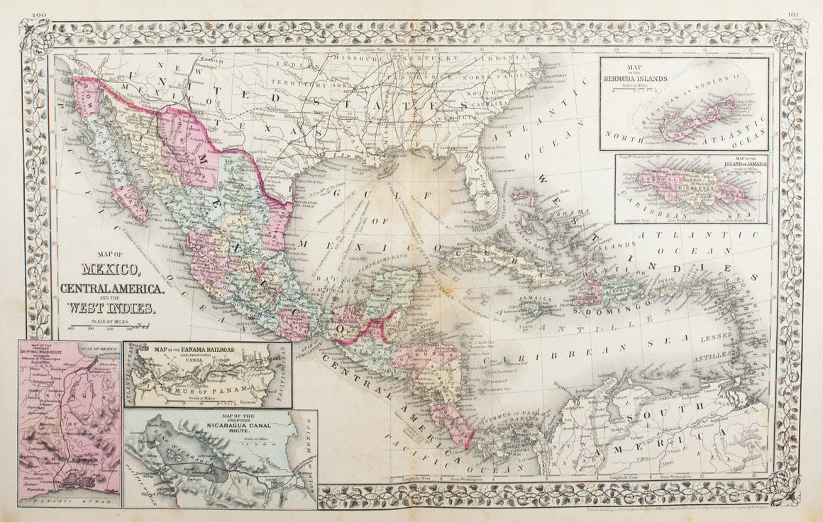 1881 Map of Mexico, Central America and the West Indies - S Mitchell Jr