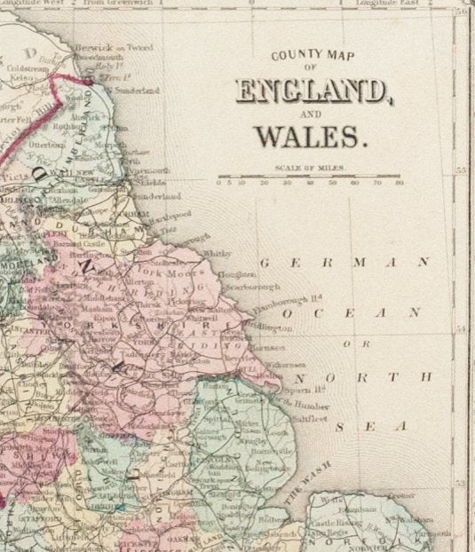 Map Of England And Wales.1881 County Map Of England And Wales S Mitchell Jr Historic Accents