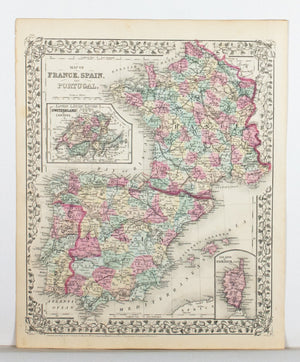 1881 Map of France, Spain and Portugal - S Mitchell Jr