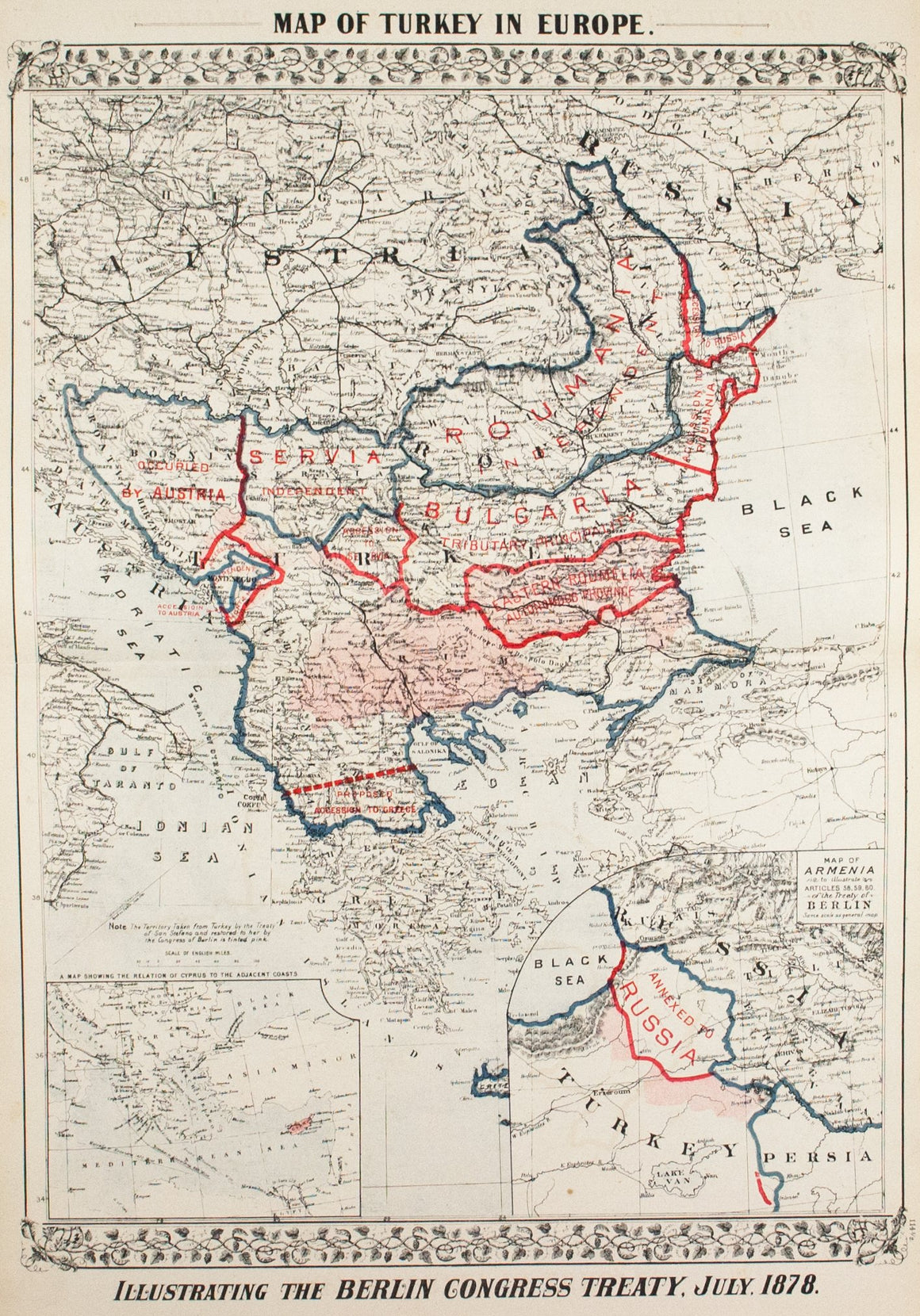 1881 Map of Turkey in Europe - S Mitchell Jr