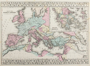 1881 Map of the Roman Empire, Ancient Greece. - S Mitchell Jr