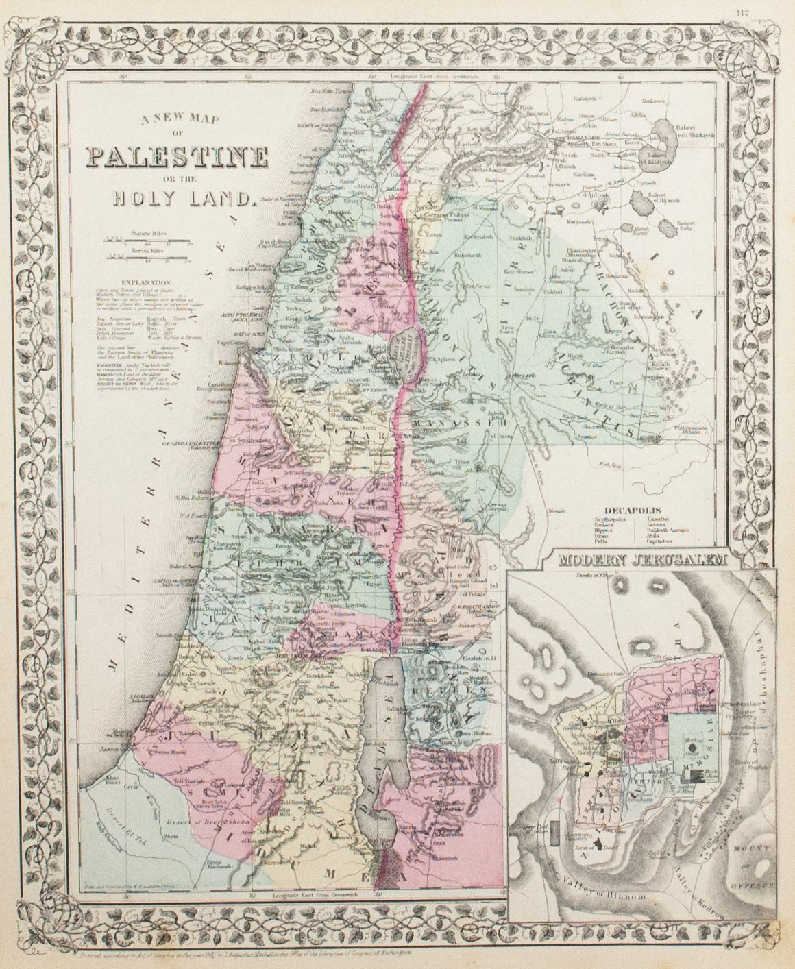 1881 A New Map of Palestine of the Holy Land - S Mitchell Jr
