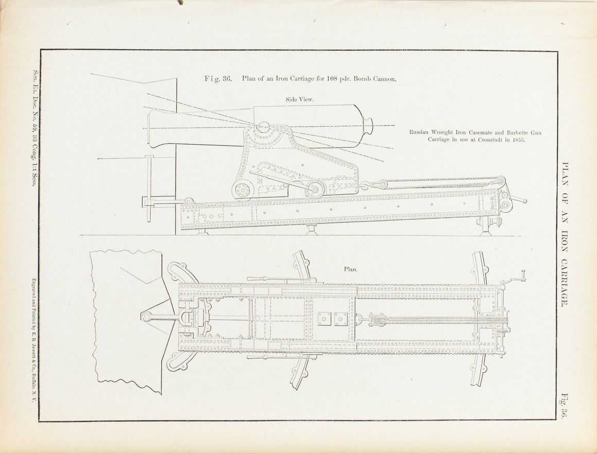 Plan Of An Iron Carriage 1860 Antique Military Print