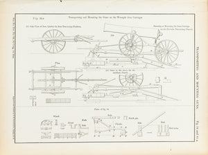 Transporting and Mounting Guns 1860 Antique Military Print