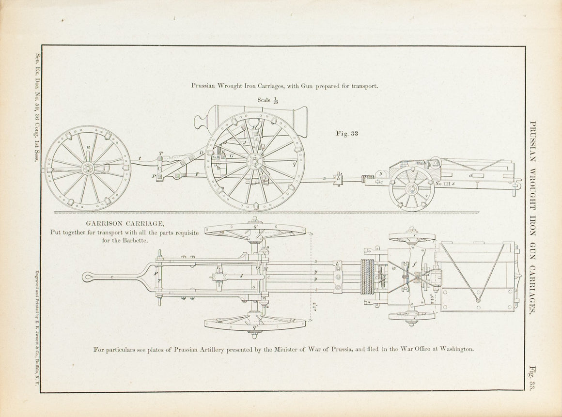 Prussian Wrought Iron Gun Carriages 1860 Antique Military Print