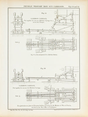 Prussian Wrought Iron Gun Carriages 1860 Antique Military Print B