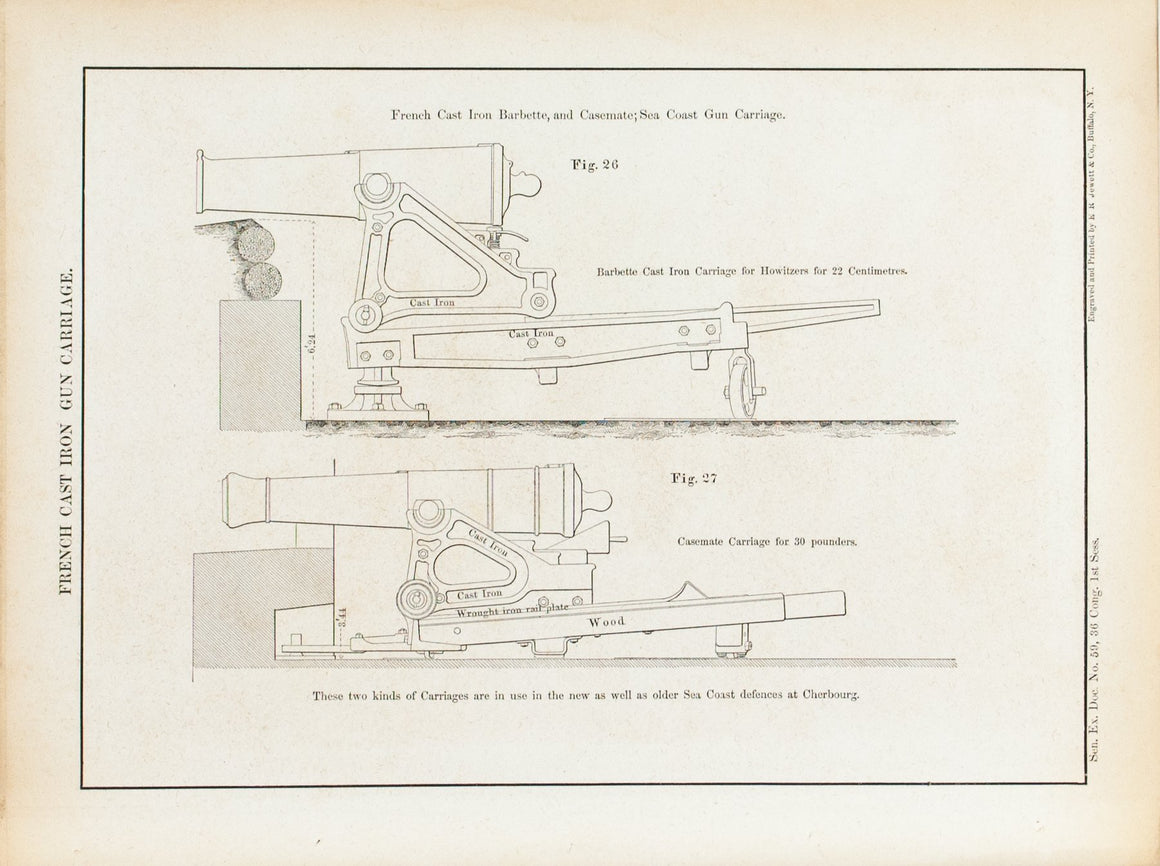 French Cast Iron Gun Carriage 1860 Antique Military and War Print