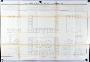 Military Hospital at St. Petersburg  Architectural Plan 1860 Antique Print