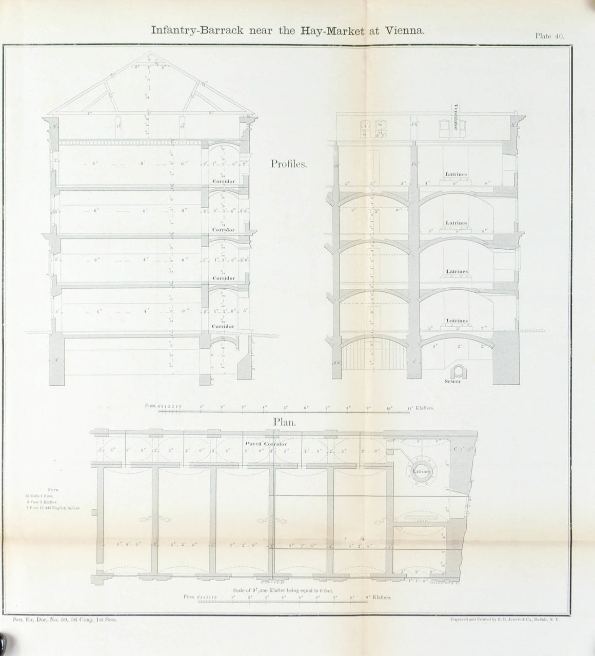 Infantry Barrack near the Haymarket at Vienna Architectural Plan 1860 Print