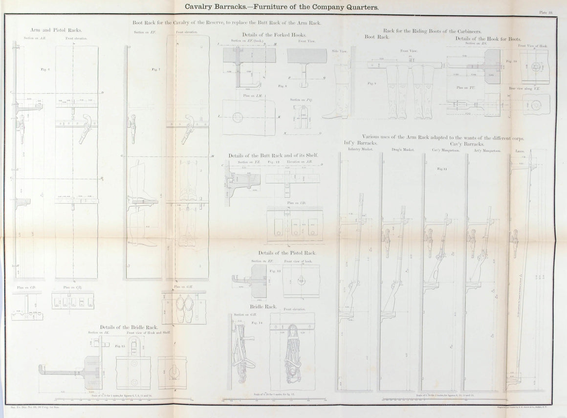 Cavalry Barracks Furniture of the Company Quarters Architectural Plan 1860 Print