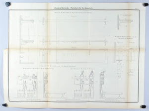 Cavalry Barracks Furniture of the Quarters Architectural Plan 1860 Print
