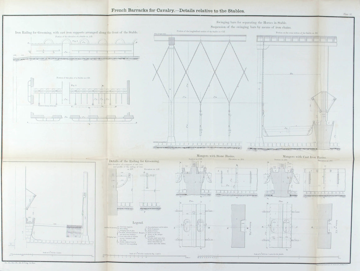 French Barracks for Cavalry Architectural Plan 1860 Print