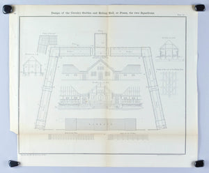 Design of the Cavalry Stable sand Riding Hall Architectural Plan 1860 Print