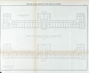 Barrack of the Lancers of the Guard at Berlin Architectural Plan 1860 Print