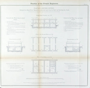 Practice of the French Engineers Architectural Plan 1860 Print