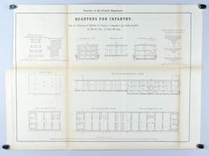 Quarters For Infantry Architectural Plan 1860 Print