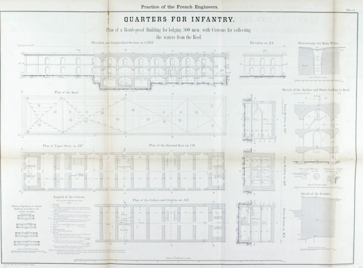 Quarters For Infantry Architectural Plan 1860 Print B