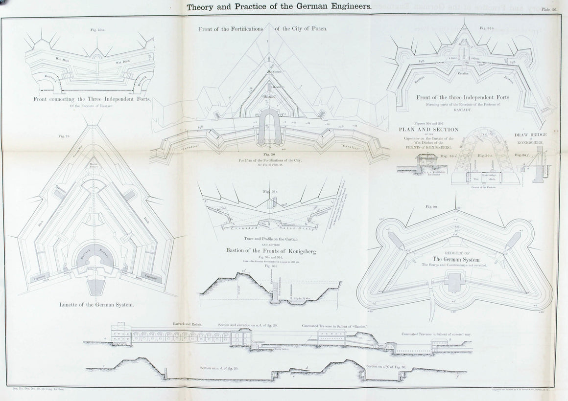 Theory and Practice of the German Engineers 1860 Posen Fortification Plan Print