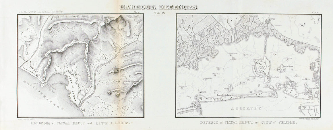 Harbour Defences Naval Depot of Genoa and Venice Battle Plan 1860 Print