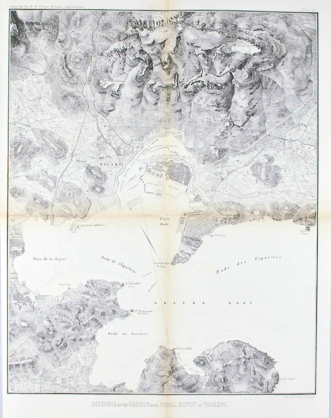 Defenses Of The Harbor And Naval Depot at Toulon Battle Plan 1860 Print