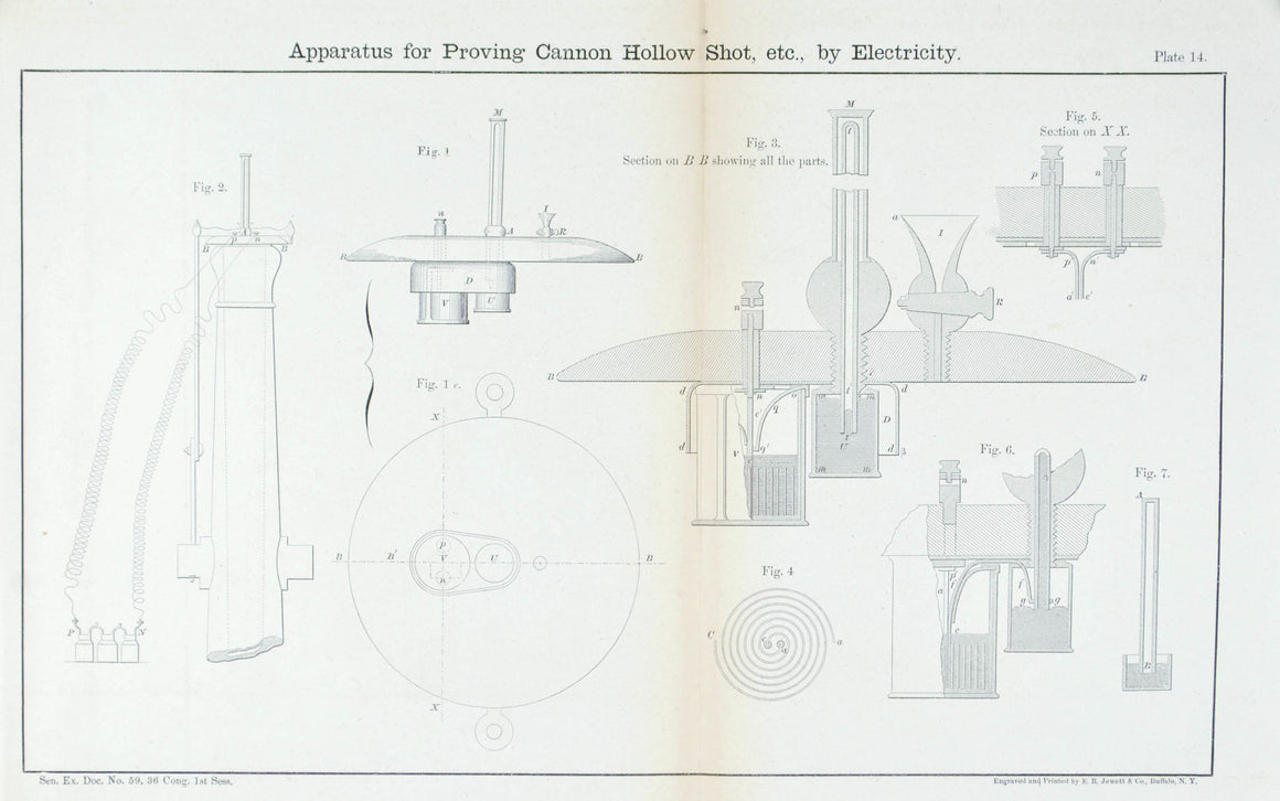 Apparatus for Proving Cannon Hollow Shot 1860 Antique Military Print