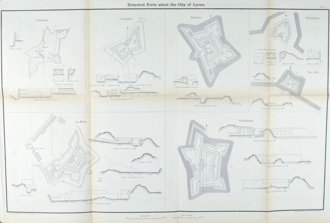 Detached Forts about the City of Lyons Military Fortification Plan 1860 Print