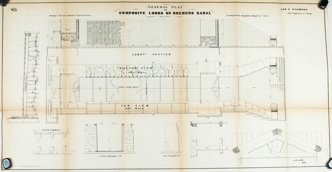 1860 Plan K - General Plan of Composite Locks Chemung Canal