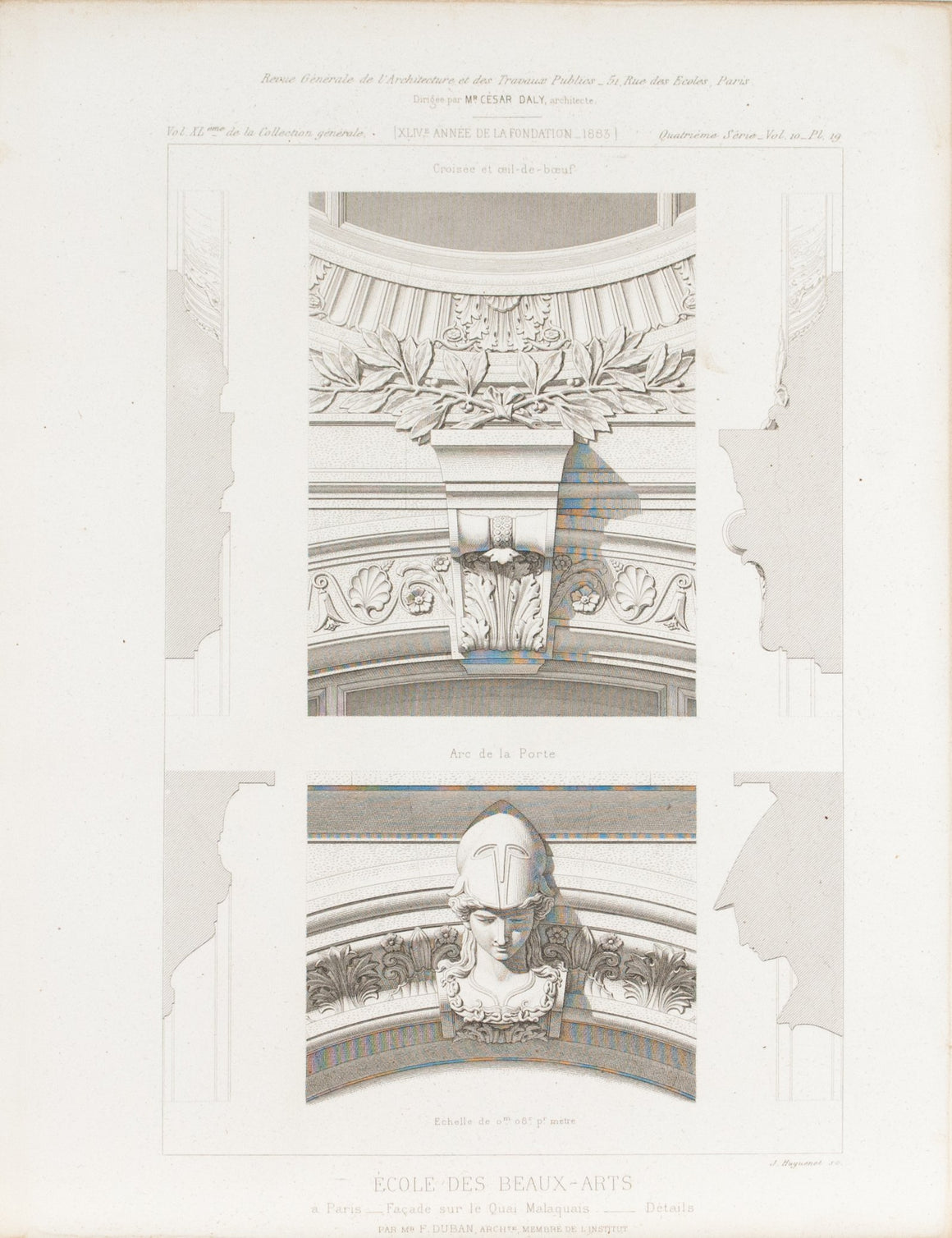 Arch Gate Architectural Design with Face Sculpture 1883 Architecture Print