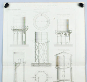 Antique Water Towers Urban Sustainability Tank Diagrams 1883 Architecture Print