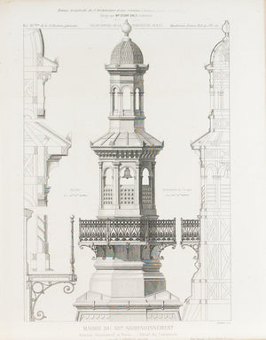Paris Town Hall Building in Paris Main Tower Elements 1883 Architecture Print