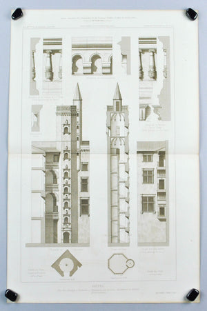 Courtyard Hotel with Columns Towers and Facade Arches  1883 Architecture Print